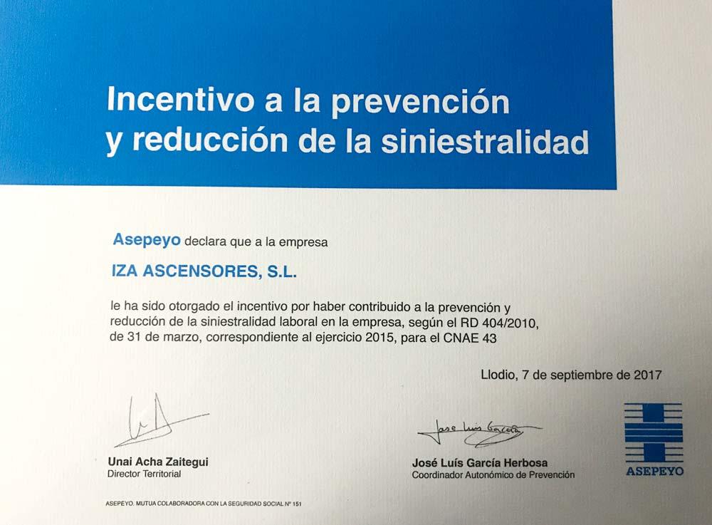 Asepeyo Alava distingue a Iza Ascensores por su labor y compromiso con la prevención y la reducción de la siniestralidad laboral