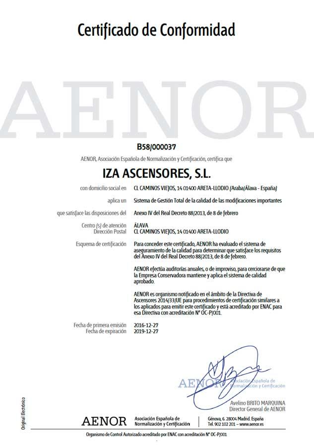 """• """"Iza Ascensores se certifica para la realización de modificaciones importantes en ascensores cumpliendo con el Anexo IV del Real Decreto 88/2013"""