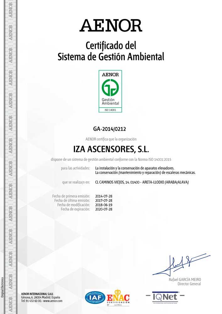 • Certifica en sistema de gestión ambiental